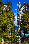 Vivid colors on the recently painted Kakaso Las totem pole at Stanley Park, Vancouver, B.C, Canada on a sunny day in early summer.