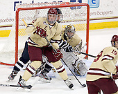 Brian Dumoulin (BC - 2), John Henrion (UNH - 16), Parker Milner (BC - 35) - The Boston College Eagles defeated the visiting University of New Hampshire Wildcats 4-3 on Friday, January 27, 2012, in the first game of a back-to-back home and home at Kelley Rink/Conte Forum in Chestnut Hill, Massachusetts.