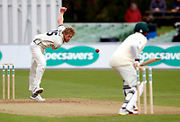Calum Haggett bowls for Kent during day 1 of the four day tour match between Kent CCC and Pakistan at the St Lawrence Ground, Canterbury, on Sat April 28, 2018