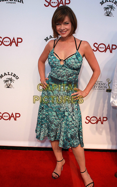 BOBBI EAKES .Soapnet's Night Before Party for the 2008 Datime Emmy Awards Nominees held at Crimson & Opera Club, Los Angeles, California, USA..June 19th, 2008.full length green blue pattern dress hands on hips .CAP/ADM/CH.©Charles Harris/AdMedia/Capital Pictures