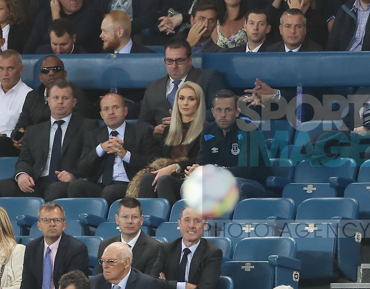 Gylfi Sigurdsson of Everton sits and watches the game with his wife during the Europa League Qualifying Play Offs 1st Leg match at Goodison Park Stadium, Liverpool. Picture date: August 17th 2017. Picture credit should read: David Klein/Sportimage