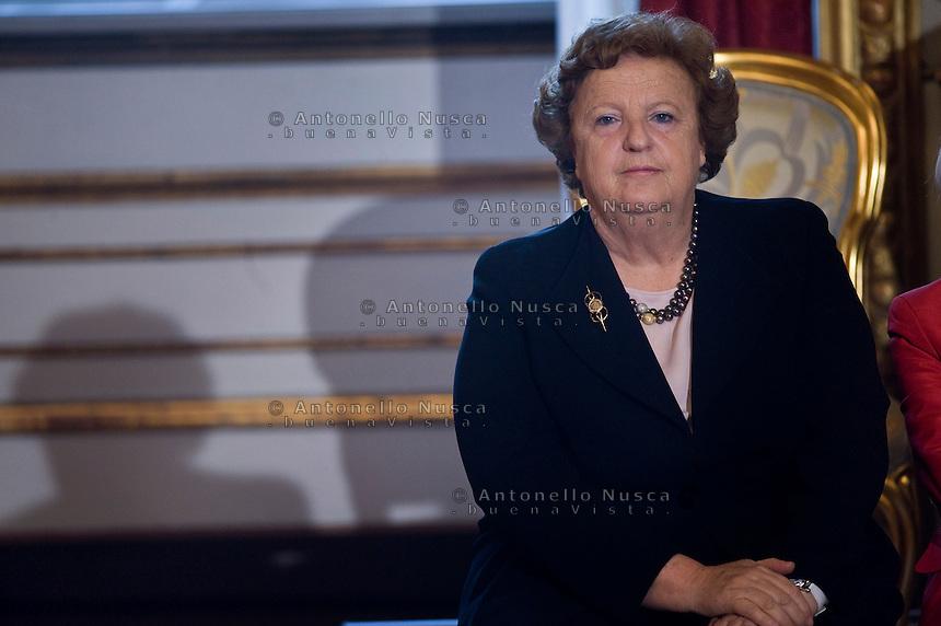 Anna Maria Cancellieri , ministro della Giustizia, durante la cerimonia del giuramento del nuovo Governo Letta nel Salone delle Feste del Quirinale.