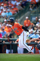 Baltimore Orioles second baseman Jonathan Schoop (6) at bat during a Spring Training game against the Minnesota Twins on March 7, 2016 at Ed Smith Stadium in Sarasota, Florida.  Minnesota defeated Baltimore 3-0.  (Mike Janes/Four Seam Images)