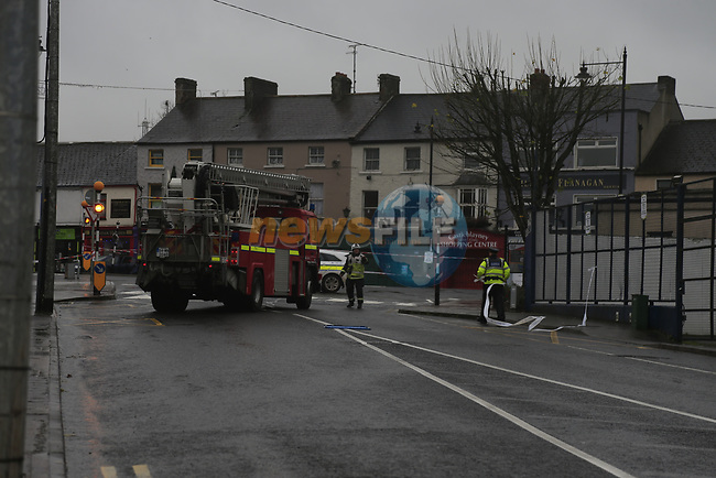 The scene of the fatal accident in Castleblaney co Monaghan. The occupant of one vehicle parked on the side of the street was killed when a car fled the scene of a garda check point with one member of the Garda in tow and crashed into the rear end of the parked car.<br /> Picture Fran Caffrey | Newsfile