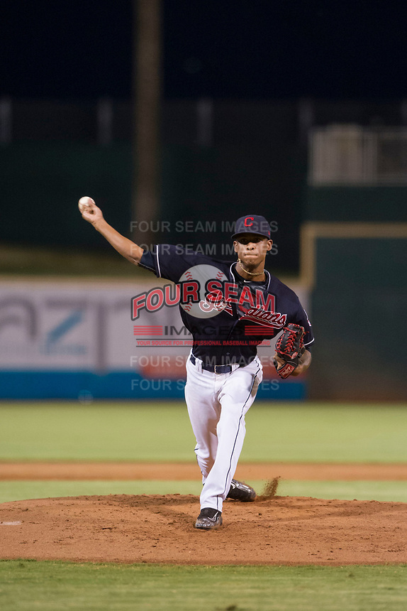 AZL Indians relief pitcher Luis Valdez (64) delivers a pitch to the plate against the AZL Padres on August 30, 2017 at Goodyear Ball Park in Goodyear, Arizona. AZL Padres defeated the AZL Indians 7-6. (Zachary Lucy/Four Seam Images)