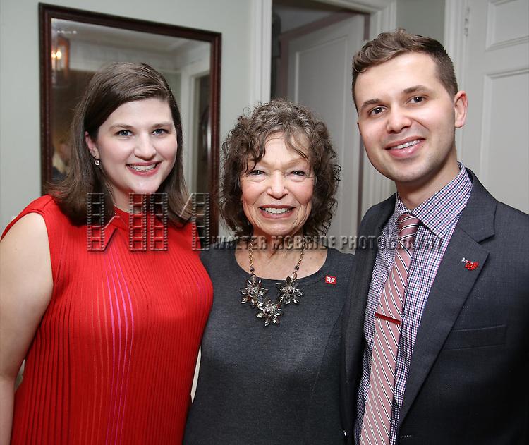 Rachel Routh, Gretchen Cryer and Seth Cotterman during the DGF Salon with Lisa Kron at the home of Gretchen Cryer on May 2, 2016 in New York City.