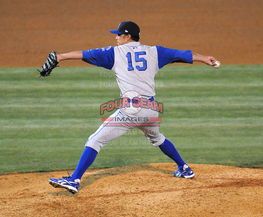 April 10, 2009: RHP Jason Godin (15) of the Wilmington Blue Rocks, Class A affiliate of the Kansas City Royals, in a game against the Myrtle Beach Pelicans at BB&T Coastal Field in Myrtle Beach, S.C. Photo by:  Tom Priddy/Four Seam Images