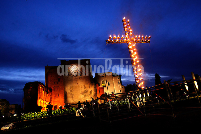 The Way of the Cross on Good Friday on April 18, 2014 at the Colosseum in Rome