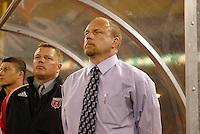 DC United Head Coach Tom Soehn at the signing of the national anthem  in the home game of  the second leg of the Concacaf Champions' Cup  match between DC. United and CD.Olimpia from Honduras, DC United defeated CD. Olimpia 3-2  to advance to the semi finals of this year's Champions' Cup and play CD Guadalajara from Mexico in a series beginning in mid-March,  March 1, 2007, at RFK Stadium in Washington, DC.