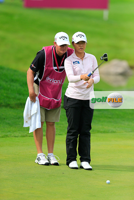 Lydia Ko (NZL) lines up her putt on the 5th green during Sunday's Final Round of the LPGA 2015 Evian Championship, held at the Evian Resort Golf Club, Evian les Bains, France. 13th September 2015.<br /> Picture Eoin Clarke | Golffile