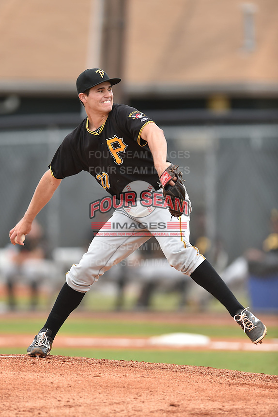 Bristol Pirates starting pitcher Billy Roth #27 delivers a pitch during a game against the Johnson City Cardinals at Howard Johnson Field July 20, 2014 in Johnson City, Tennessee. The Pirates defeated the Cardinals 4-3. (Tony Farlow/Four Seam Images)