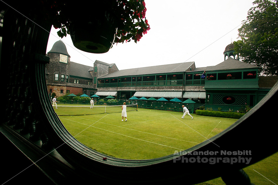 USA, Newport, RI _ Grass court tennis played on the inner court at the Newport Tennis Hall of Fame.