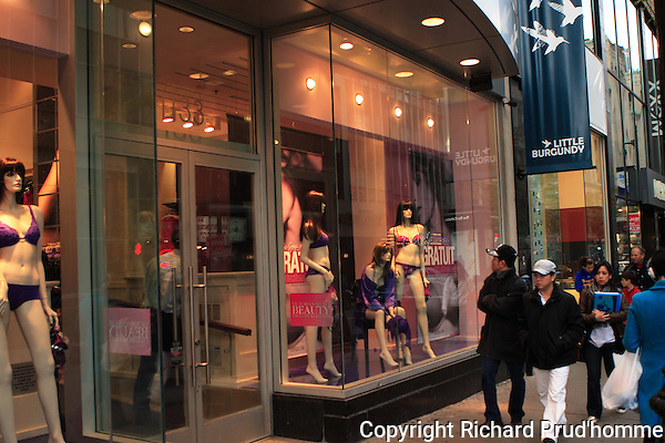 Lingerie boutique with mannequins in window along Ste-Catherine street in downtown Montreal