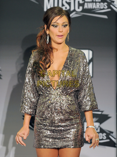 "Jenni ""JWoww"" Farley.28th Annual MTV Video Music Awards held at Nokia Theatre L.A. Live. Los Angeles, California, USA..28th August 2011.half length silver dress sequins sequined low cut plunging neckline mouth open funny cleavage .CAP/RKE/DVS.©DVS/RockinExposures/Capital Pictures."