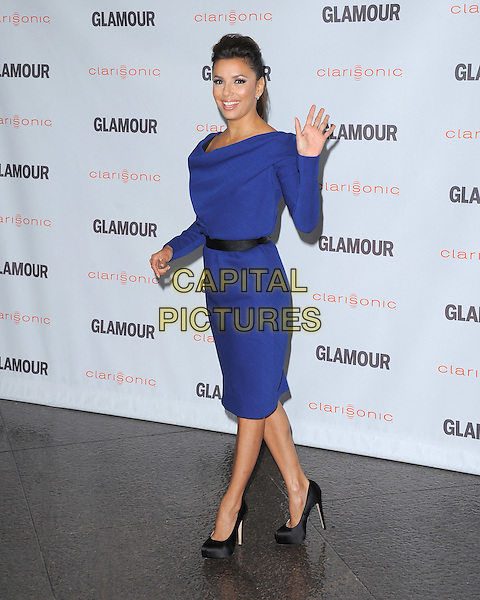 Eva Longoria .The Glamour Reel Moments held at The Directors Guild of America in West Hollywood, California, USA..October 24th, 2011.full length dress blue black belt shoes hand waving palm.CAP/RKE/DVS.©DVS/RockinExposures/Capital Pictures.