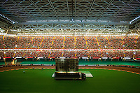 View of the  fan zone set up in the Principality Stadium, Cardiff, Wales, Britain, 6 July 2016, watching Portugal vs Wales EURO 2016 semi-final match. Athena Picture Agency/ALED LLYWELYN/ATHENA PICTURES