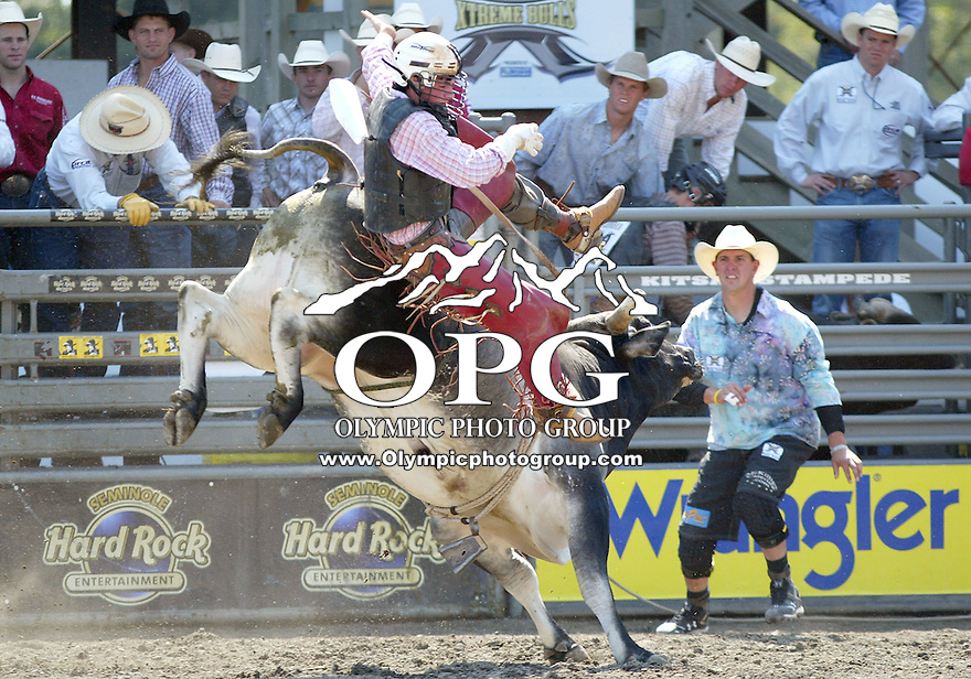 30 Aug 2009:  Austin Ambrose riding the bull Tip N Dip was not able to score on his ride during the Extreme Bulls tour stop in Bremerton, Washington.  Bremerton was the last stop in the Wrangler Million Dollar Pro Rodeo Silver Tour for 2009.