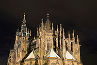 St. Vitus Cathedral illuminated by lights at night, Prague, Czech Republic