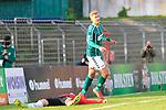 26.10.2019, Stadion Lohmühle, Luebeck, GER, Regionalliga Nord VFB Lübeck/Luebeck vs Hannover 96 II <br /> <br /> DFB REGULATIONS PROHIBIT ANY USE OF PHOTOGRAPHS AS IMAGE SEQUENCES AND/OR QUASI-VIDEO.<br /> <br /> im Bild / picture shows<br /> Torjubel/Jubel. Torschütze/Torschuetze Nicolas Hebisch (VfB Luebeck) jubelt ueber das Tor zum 4:0 am Boden Julian Klar (Hannover 96 II).<br /> <br /> Foto © nordphoto / Tauchnitz