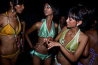Contenders for the crown wait backstage for their turn to  meet the jury and the crowd during the 2009 MIss Ethiopia beauty pageant held at the Intercontinental Hotel in Ethiopia's Capital Addis Ababa on Sunday January 18 2009.