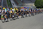 The peloton including race leader Yellow Jersey Geraint Thomas (WAL) team Sky climb Eau Rouge on the famous Spa-Francorchamps Motor Circuit during Stage 3 of the 104th edition of the Tour de France 2017, running 212.5km from Verviers, Belgium to Longwy, France. 3rd July 2017.<br /> Picture: Eoin Clarke | Cyclefile<br /> <br /> All photos usage must carry mandatory copyright credit (&copy; Cyclefile | Eoin Clarke)