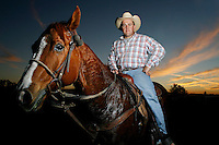 A stockman (Australlian Cowboy) is pictured after warming up his horse at the Scone rodeo , New South Wales. Australia.Rodeo is an integral part of rural Australian lifestyle and competitors travel great distances to compete on the circuit. Rodeo consists of many events ? ladies barrel race, saddle bronc riding, bull riding, bareback bronc riding, rope and tie, steer wrestling, team roping and the steer ride. .