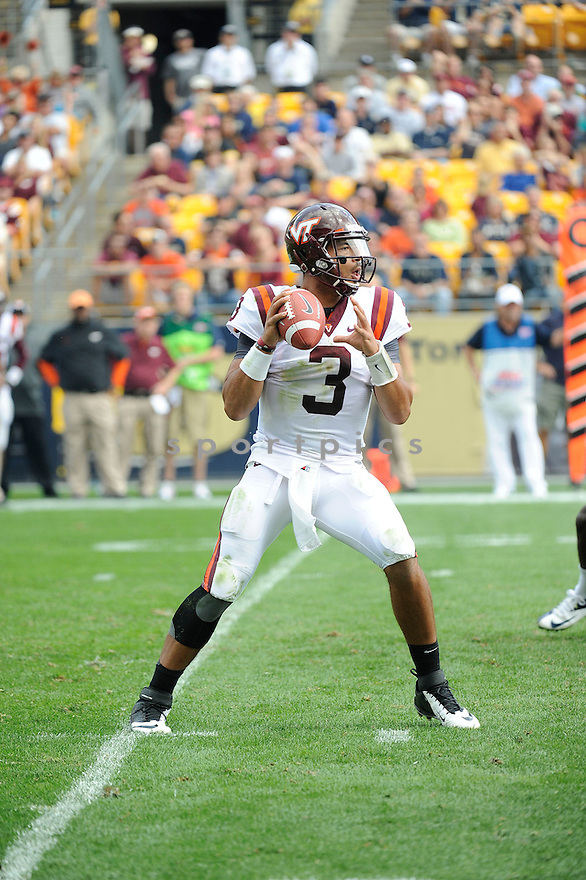 Virginia Tech Hokies Logan Thomas (3) in action during a game against the Pittsburgh Panthers on September 15, 2012 at Heinz Field in Pittsburgh, PA. Pittsburgh beat Virginia Tech 35-17.