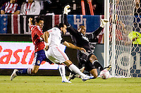 Chivas USA goalkeeper Zach Thornton makes a sliding save off a Dwayne De Rosario shot on goal. Chivas USA defeated Toronto FC 3-0 at Home Depot Center stadium in Carson, California on Saturday October 9, 2010.