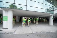 Rio de Janeiro. BRAZIL Volunteers meeting point.  2016 Olympic Rowing Regatta. Lagoa Stadium,<br /> Copacabana,  &ldquo;Olympic Summer Games&rdquo;<br /> Rodrigo de Freitas Lagoon, Lagoa. Local Time 06:39:28  Tuesday  09/08/2016<br /> [Mandatory Credit; Peter SPURRIER/Intersport Images]