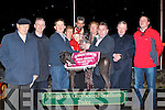 WINNER: Patrick Kelly owner of Blazeaway Honcho collecting his trophy from Mike Cronin (Mike Cronin Readymix) sponsor of the Rathmore Churches Development Final at the Kingdom Greyhound Stadium on Saturday l-r: Dick O'Sullivan (Chairman IBB), Fr Larry Kelly (P.P. Rathmore), Patrick Kelly, Trisha and Stephen Feerick, Christy McMahon, Amamda Lanagan, Mike Cronin (Mike Cronin Readymix), Fr Con Buckley (P.P. Knocknagree) and Kieran Casey (Race Manager).   Copyright Kerry's Eye 2008