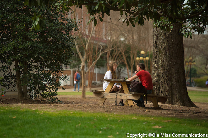 Ole Miss students take advantage of a beautiful day.  Photo by Kevin Bain/Ole Miss Communications