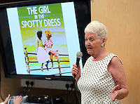 NO SALES, NO AGENCIES, NO LOCAL OR NATIONAL PRESS, NO MAGAZINES.<br /> ONLY FOR BLACKPOOL COUNCIL WEBSITE, FACEBOOK, TWITTER, INTERNAL PUBLICATIONSCOPY BY TOM BEDFORD<br /> Pictured: Pat Stewart in Blackpool Library.<br /> Re: A pin-up girl from the 1950s has returned to the spot where she accidentally flashed her knickers and won the nation's hearts.<br /> Pat Stewart was a teenage dancer when she and a pal were persuaded to pose for a picture on Blackpool seafront.<br /> As the camera clicked a gust of wind lifted her skirt to give just a glimpse of forbidden flesh.<br /> Pat became known as the girl in the spotty dress and it helped kick-off her showbusiness career.<br /> And 65 years later Pat posed on the same spot after returning to Blackpool for the first time since the saucy snap was taken.£150 MINIMUM FOR NEWSPAPER USE PLEASE