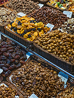 Dried fruit and nuts, Boqueria Market, Barcelona, Spain.