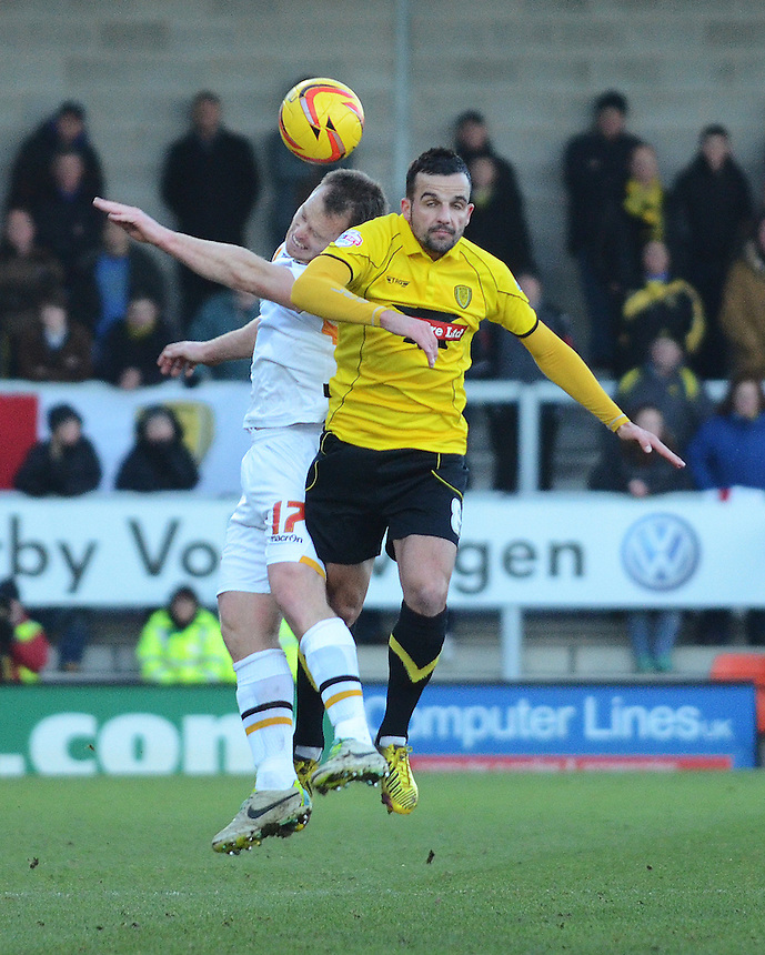 Newport County's Michael Flynn vies for possession with  Burton Albion's Robbie Weir<br /> <br /> Photo by Kevin Barnes/CameraSport<br /> <br /> Football - The Football League Sky Bet League Two - Burton Albion v Newport County - Sunday 29th December 2013 - Pirelli Stadium - Burton upon Trent<br /> <br /> &copy; CameraSport - 43 Linden Ave. Countesthorpe. Leicester. England. LE8 5PG - Tel: +44 (0) 116 277 4147 - admin@camerasport.com - www.camerasport.com
