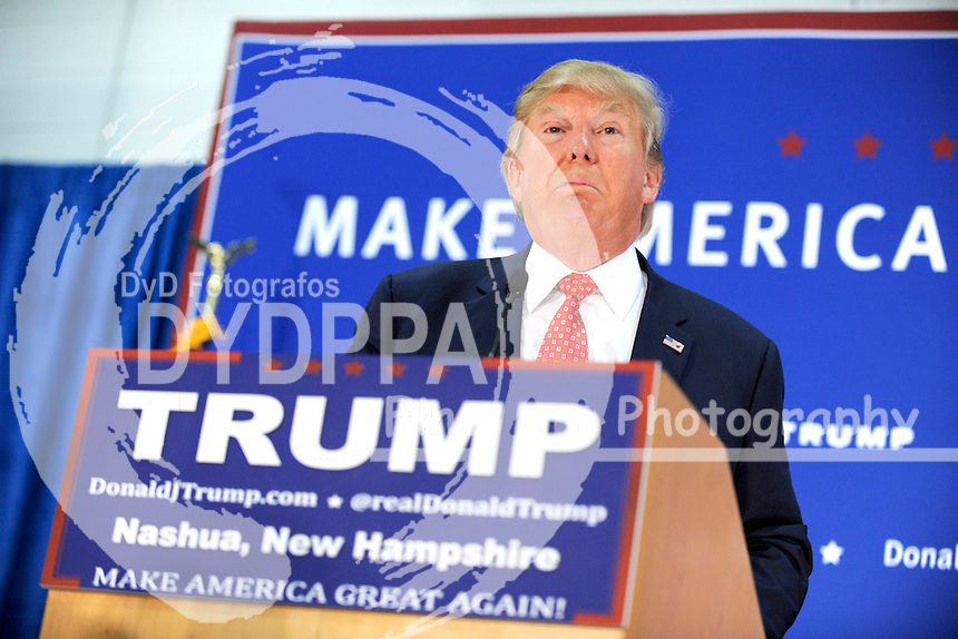 Republican presidential candidate Donald Trump held a campaign rally at the Pennichuck Middle School in Nashua, New Hampshire on Monday night, Dec. 28, 2015