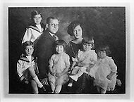 ca. 1922-1925, Boston, Massachusetts, Joseph Patrick and Rose Kennedy pose with their first five children. (L-R): Joseph, Jr. (above), John, Rosemary, Eunice, and Kathleen. The photograph is on display at the J.F. Kennedy Birthplace Historic Site, the three story house in Brookline in which US President John F. Kennedy was born. After JFK's death, the Kennedy family bought back the house at 83 Beals Street from the then owners and turned it into a museum of the Kennedys' childhoods.