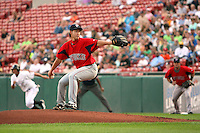 "July 28, 2009:  Starting Pitcher Junichi Tazawa of the Pawtucket Red Sox delivers a pitch during a game at Coca-Cola Field in Buffalo, NY.  Tazawa was signed out of Japan and making his ""AAA"" debut with Pawtucket, the International League Triple-A affiliate of the Boston Red Sox.  Photo By Mike Janes/Four Seam Images"