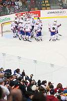 April 28, 2007; Hamilton, ON, CAN; The Hamilton Bulldogs celebrate their 6-2 game six win over the Rochester Americans in the AHL north division semifinal at Copps Coliseum. The Bulldogs eliminated the Americans from the playoffs. Mandatory Credit: Ron Scheffler, Special to the Spectator. (File number RRSB7080).