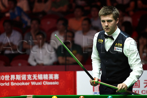 Jun 03, 2010; Wuxi, CHINA; Ryan Day of Wales defeats Yu Delu of China 5:4 in the first round of the 2010 World Snooker Wuxi Classic.