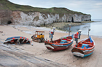 Fishing boats at Flamborough Head, North Yorkshire.