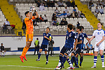 Goalkeeper Daniel Schmidt of Japan (L) saves the ball during the AFC Asian Cup UAE 2019 Group F match between Japan (JPN) and Uzbekistan (UZB) at Khalifa Bin Zayed Stadium on 17 January 2019 in Al Ain, United Arab Emirates. Photo by Marcio Rodrigo Machado / Power Sport Images