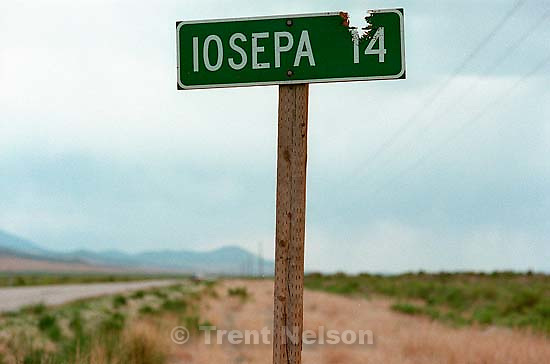Roadside reading &quot;Iosepa 14&quot;. Iosepa was a colony of Polynesian members of the LDS church in the late 1800's. Every year, descendants of the settlers gather to clean up the Iosepa cemetery and teach the youth about their ancestors.<br />