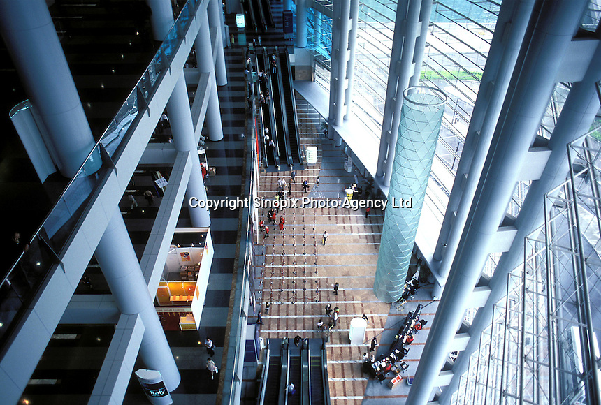 Inside view of the Hong Kong Convention and Exhibition Centre, reported to be the largest windows in the world..
