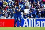 Getafe CF's Leandro Cabrera and Sebastian Cristoforo celebrate victory during La Liga match. May 05,2019. (ALTERPHOTOS/Alconada)