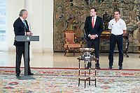 The reception of Prime Minister Mariano Rajoy to Spain national basketball team gold at EuroBasket 2015 at Moncloa Palace in Madrid, 21 September, 2015.<br /> FEB president Jose Luis Saez, Prime Minister Mariano Rajoy and Coach Sergio Scariolo.<br /> (ALTERPHOTOS/BorjaB.Hojas) /NortePhoto.com