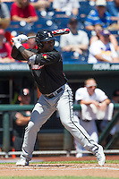Louisville outfielder Coco Johnson (20) at bat against the Oregon State Beavers during Game 5 of the 2013 Men's College World Series on June 17, 2013 at TD Ameritrade Park in Omaha, Nebraska. The Beavers defeated Cardinals 11-4, eliminating Louisville from the tournament. (Andrew Woolley/Four Seam Images)