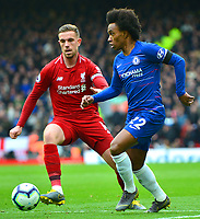 Chelsea's Willian in action with Liverpool's Jordan Henderson<br /> <br /> Photographer Richard Martin-Roberts/CameraSport<br /> <br /> The Premier League - Liverpool v Chelsea - Sunday 14th April 2019 - Anfield - Liverpool<br /> <br /> World Copyright © 2019 CameraSport. All rights reserved. 43 Linden Ave. Countesthorpe. Leicester. England. LE8 5PG - Tel: +44 (0) 116 277 4147 - admin@camerasport.com - www.camerasport.com