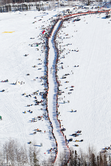 DeeDee Jonrowe leaves the star chute lined with race fans in Willow, Alaska duirng the re-start of the 2011 Iditarod.