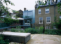 View from the back garden to Eldridge Smerin's glass extension to a typical London townhouse
