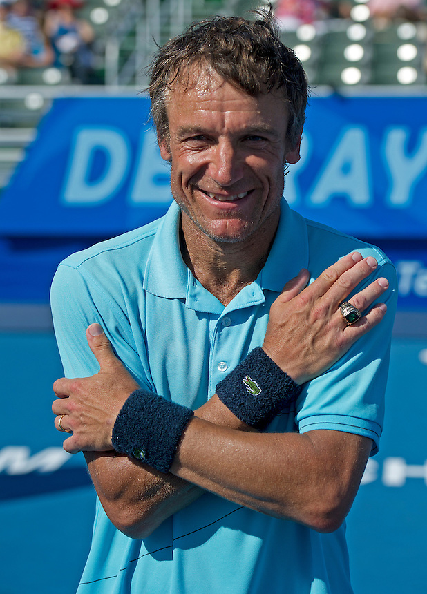 Mats Wilander (SWE) shows off his ring after being inducted into the Tennis Hall of Fame..Tennis - ATP Champions Tour - 2013 Delray Beach International Tennis Championships - Day 3 - Sunday 24th February 2013 - Delray Beach Stadium & Tennis Center - Delray Beach - Florida - USA..© CameraSport - 43 Linden Ave. Countesthorpe. Leicester. England. LE8 5PG - Tel: +44 (0) 116 277 4147 - admin@camerasport.com - www.camerasport.com